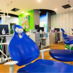 On the cusp pediatric dentist office - Blue dental chairs