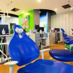 On the cusp pediatric dentist office - Blue dental chairs