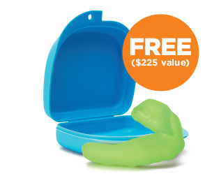 Green mouth guard with blue case